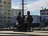 Памятник Семёну Ивановичу Дежнёву и его семье - жене Абакаяде Сючю и сыну Любиму